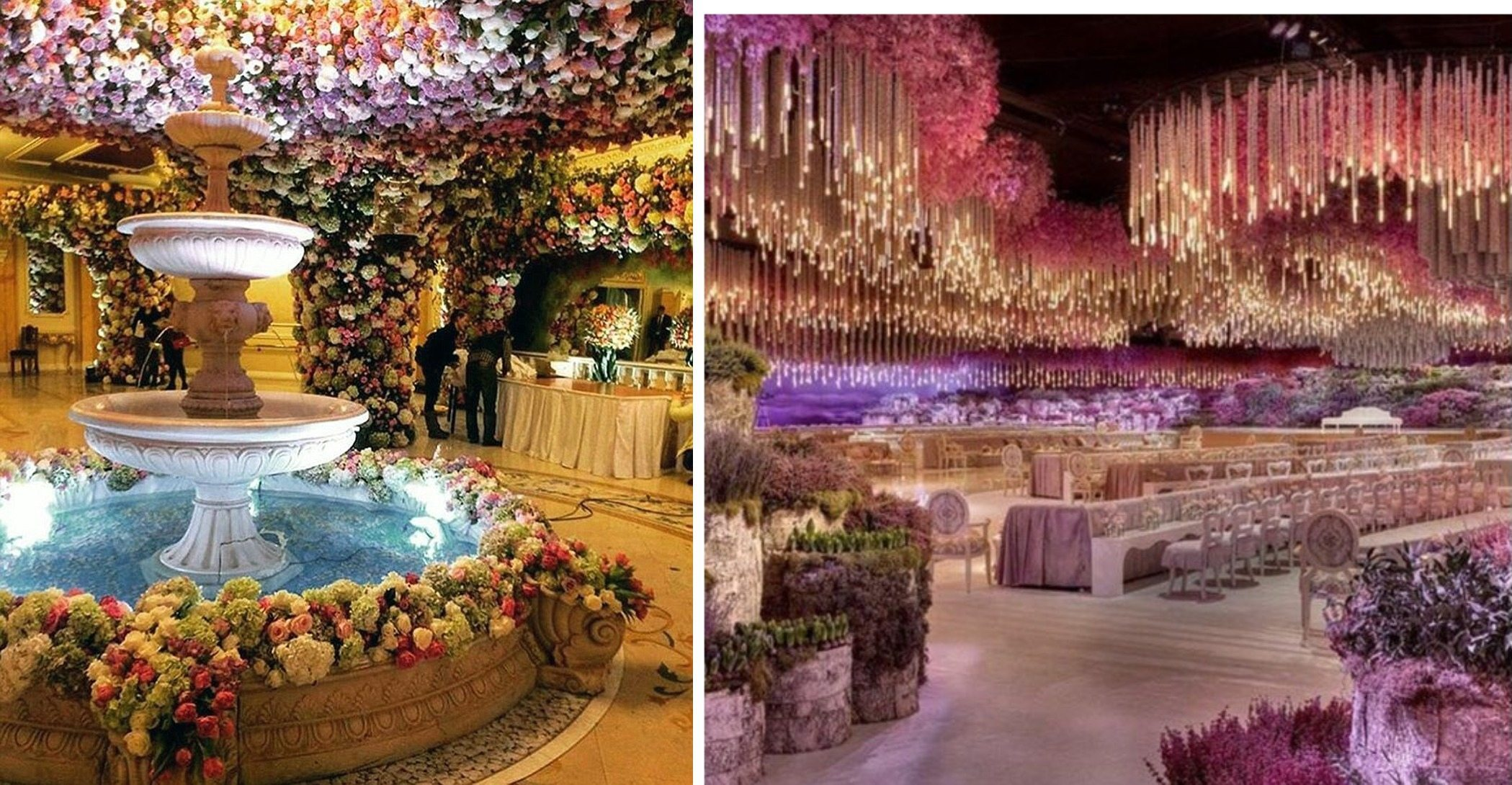 The Banquet Hall Which Is Luxurious On Its Own Was Taken To A New Level Of Extravagance With Flower And Light Decorations Covering Up Entire E