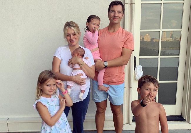 Daphne Oz with her husband and their kids